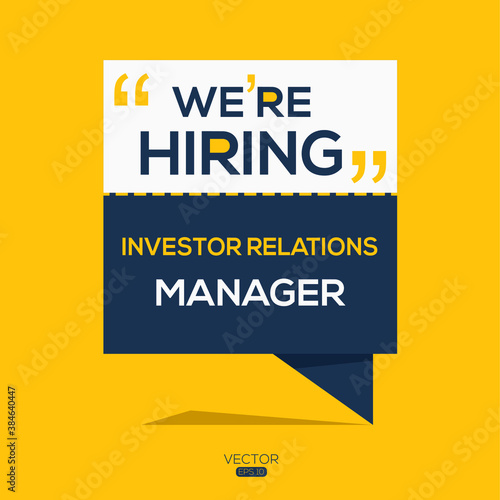 Obraz na plátně creative text Design (we are hiring Investor Relations Manager),written in English language, vector illustration