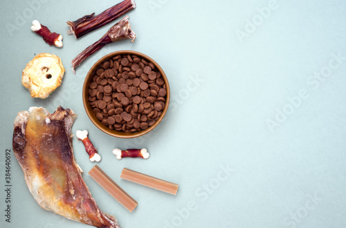 Obraz na plátně Dog delicacy food and feed in bowl on blue background with copy space