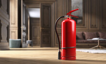 Fire Extinguisher In Luxury Classic Apartment, Blur Background. 3D Illustration
