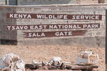 Tsavo East National Park - Sala Gate Main Sign