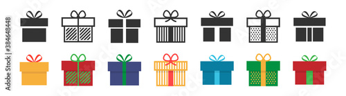 Fototapeta Gift box icon. Present symbol. Christmas box. Surprise with gift box in flat style. Set with gift in colorful style. Vector obraz