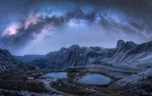 Milky Way Arch Over Mountains ...