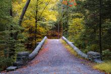 Stone Bridge Path In Rockefeller State Park Passing Over The Pocantico River