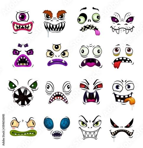 Valokuva Monster face funny emoticons cartoon vector