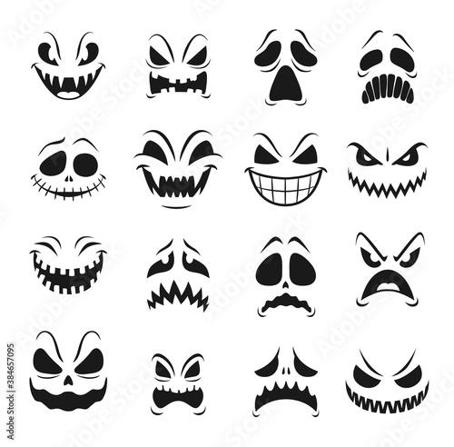 Valokuvatapetti Monster faces vector set of Halloween horror holiday emoticons