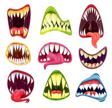 Monster Mouths Cartoon Set Of Vector Halloween Horror Holiday. Scary Teeth And Tongues In Mouth Of Creepy Alien Beast, Devil Or Zombie, Spooky Smiles Of Dracula Vampire, Werewolf Or Demon