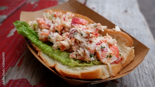 Delicious lobster roll from a farmers market in Quebec