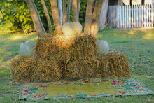 Hay Bales In A Yard Forming An Idilic Countryside Photo Shooting Prop Background With Pumpkins Placed On Top