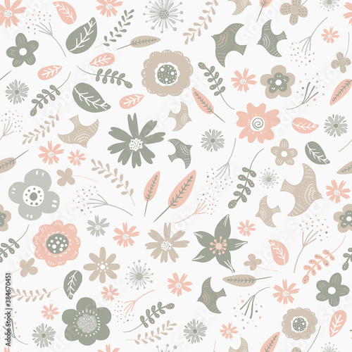 Seamless pattern of flower and birds Fototapet