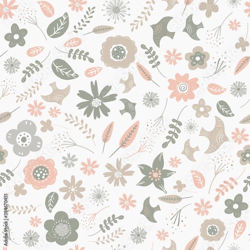 Slika na platnu Seamless pattern of flower and birds
