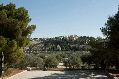 Fotomural view of in Mount of Olives in Jerusalem, Israel