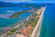 Aerial View Of Lang Co Bay And Beach, Hai Van Pass, Lap An Lagoon, Hue, Vietnam.