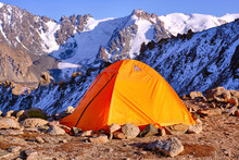 Tent Is Placed On A Mountain R...