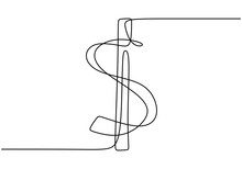 Continuous One Line Drawing Of Dollar Sign Isolated On White Background. Dollar Money Symbol With Scribble Hand Drawn Sketch Line Art. Minimalism Design. Concept Of Money Storage, Money, Finance