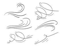 Hand Drawn Set Wind Doodle Blo...