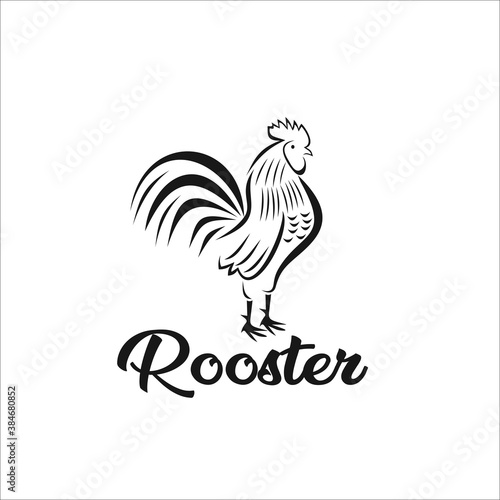 Photo Rooster logo design silhouette icon vector