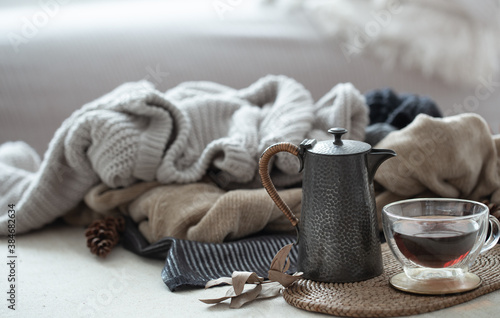 Fototapeta Still life with details of the home interior. Autumn home atmosphere obraz