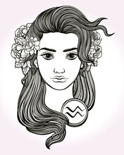 Aquqrius Astrological Sign. Hand Drawn Art Of A Young Pretty Girl. Coloring Book, Tattoo Art. Isolated Vector Illustration