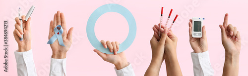 Female hands with glucometer, syringes, blood drop, blue ring and awareness ribbon on color background Fototapete