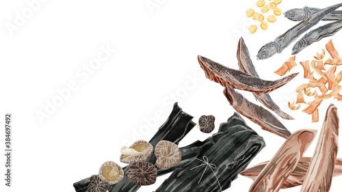 Fotografia 和風出汁の材料フレーム 水彩風手描きイラスト