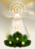 Fototapeta Do akwarium - composition with a stained glass window depicting an angel and green branches of the Christmas tree