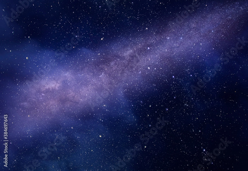 Milky Way on deep night starry sky, background, texture Fotobehang