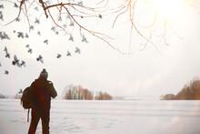 A Man On A Walk. Winter Landsc...