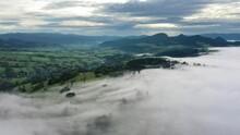 Fog Flowing Over Wielkie Pole Widokowe, Pieniny Mountains, Poland
