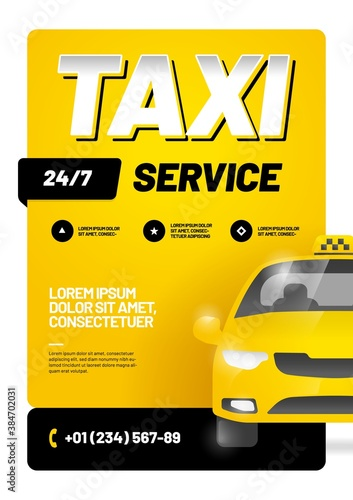 Fototapeta Vector layout with taxi car. Design for advertising a taxi service. Adapt for poster, flyer, banner or social media. obraz