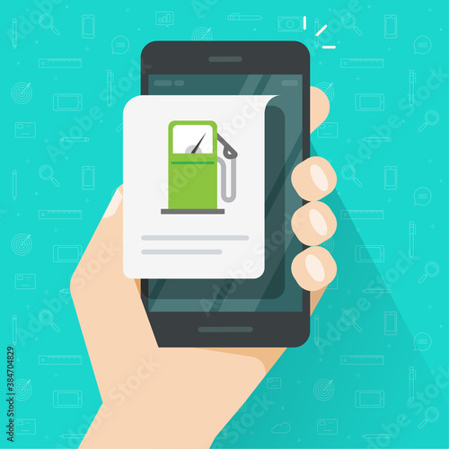 Fotografie, Obraz Fuel petrol charging using cellphone app, gas station info message on mobile pho
