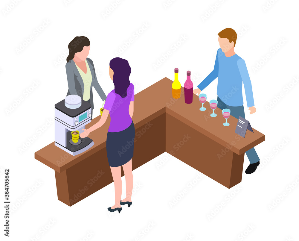 Fototapeta Coffee break. Woman and hot drinks machine. Isometric wine tasting bar counter with bottles and glasses vector illustration. Man and woman staff prepare latte to takeaway