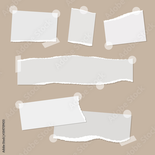 Canvastavla Realistic empty torn paper notes with sticky tape on beige background