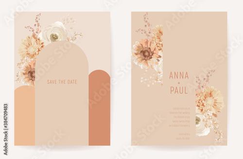 Floral wedding boho invitation card, dry flowers template design with dahlia, anemone, frame set