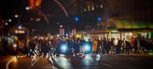 Crowd Of People Crossing Night...