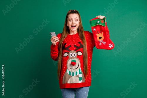 Fototapeta Photo of attractive excited lady hold newyear stocking x-mas eve presents teleph