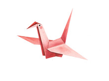 Cute Red Crane Origami Watercolor Illustration On A White Isolated Background. Beautiful Cute Hand Drawn Painting For Decoration, Postcards. Asian Culture