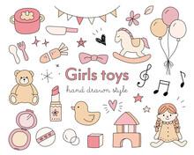 女の子のおもちゃの手描きイラストのセット/かわいい/キッズ/遊び/アイテム/育児/子ども/子育て