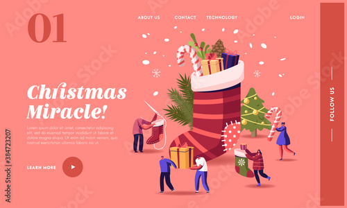 Happy Characters Celebrating Christmas Landing Page Template. People at Huge Sock with Gifts and Decorated Fir Tree