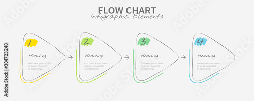 Hand-drawn flow chart infographics