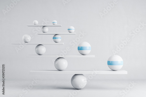 Fotografia Scales with ball on white background