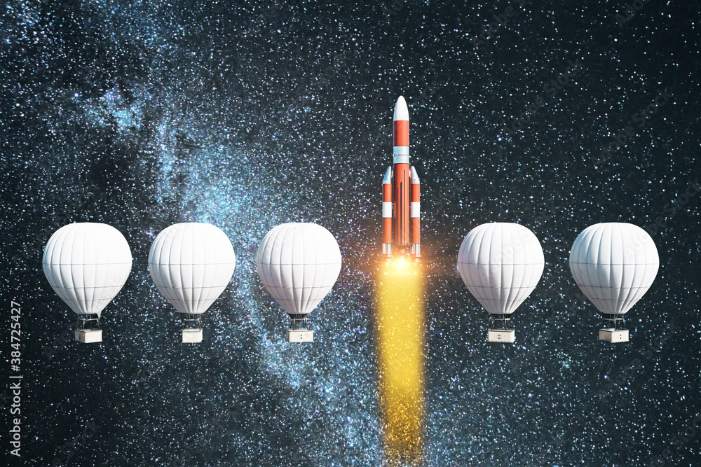 Fototapeta Flying white air balloons and rocket on space background.