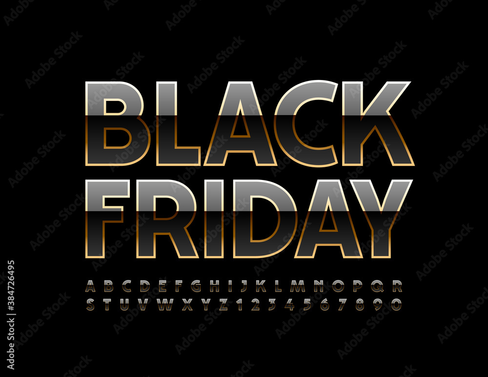 Fototapeta Vector premium promo tag Black Friday. Shiny Gold Font. Elite chic Alphabet Letters and Numbers set