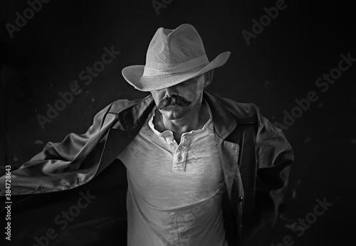 Fototapety, obrazy: stylized vintage portrait of a man wild west, mustachioed dangerous criminal, mustache on his face