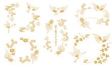 鶴と亀と花の和風フレームのベクターイラスト素材セット