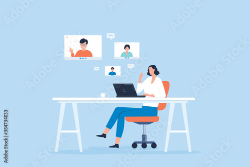Fototapeta flat vector women video conferencing meeting team at table home office with technology remote working online connect concept obraz