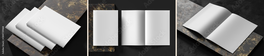 Fototapeta Realistic magazine or catalog mock up on dark granite background. Blank soft cover magazine mockups rendered with three different variations. 3D illustration.