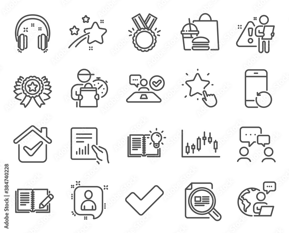 Fototapeta Education icons set. Included icon as Candlestick graph, Check article, People chatting signs. Winner ribbon, Ranking star, Feedback symbols. Job interview, Developers chat, Headphones. Vector