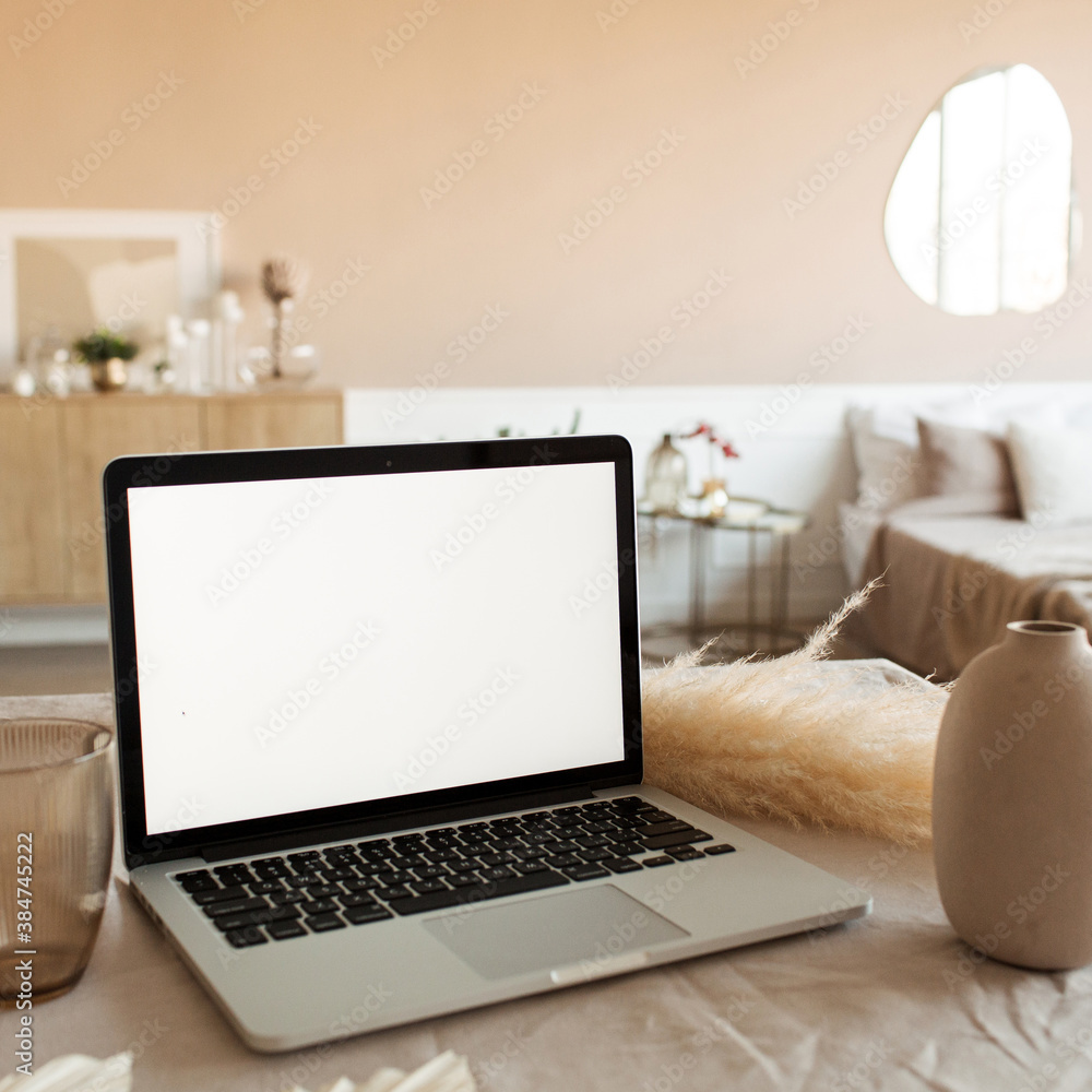 Fototapeta Blank display screen laptop on table with beautiful decorations. Modern cozy comfortable home living room interior design. Home office desk workspace. Mock up copy space.