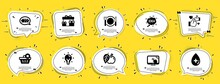 Business Icons Set. Speech Bubble Offer Banners. Yellow Coupon Badge. Included Icon As Idea, Apple, Delete Order Signs. Oil Serum, Energy, Restaurant Food Symbols. Vector