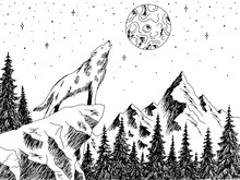 Wolf Howling At The Moon Mountains Forest Graphic Black White Landscape Sketch Illustration Vector